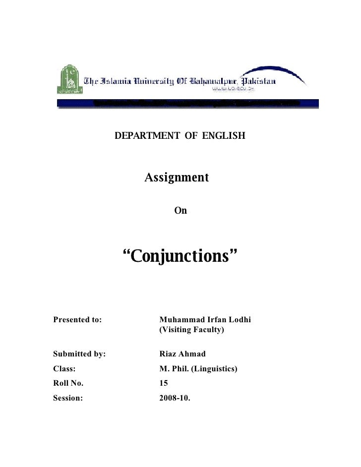 """DEPARTMENT OF ENGLISH                        Assignment                              On                      """"Conjunctions..."""