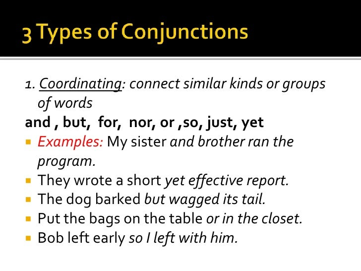 Examples Of Coordinating Conjunctions