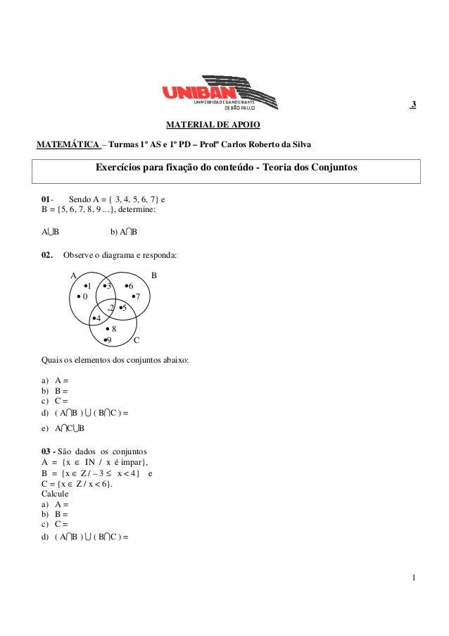 1 3 MATERIAL DE APOIO MATEMÁTICA – Turmas 1º AS e 1º PD – Profº Carlos Roberto da Silva Exercícios para fixação do conteúd...