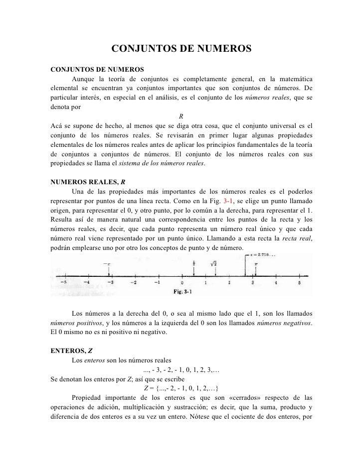 CONJUNTOS DE NUMEROSCONJUNTOS DE NUMEROS        Aunque la teoría de conjuntos es completamente general, en la matemáticael...
