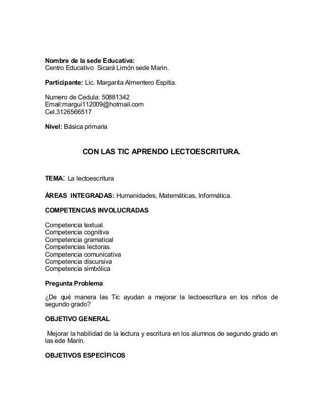 Nombre de la sede Educativa: Centro Educativo Sicará Limón sede Marin. Participante: Lic. Margarita Almentero Espitia. Num...