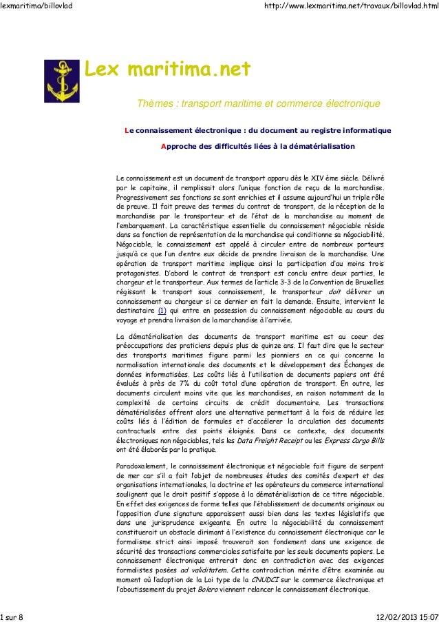 Thèmes : transport maritime et commerce électronique Le connaissement électronique : du document au registre informatique ...