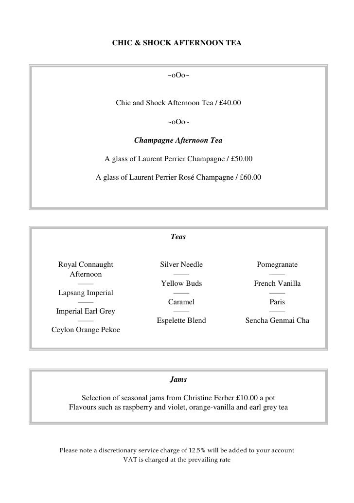 Connaught Afternoon Tea Menu 2010- Connaught Hotel- London, UK