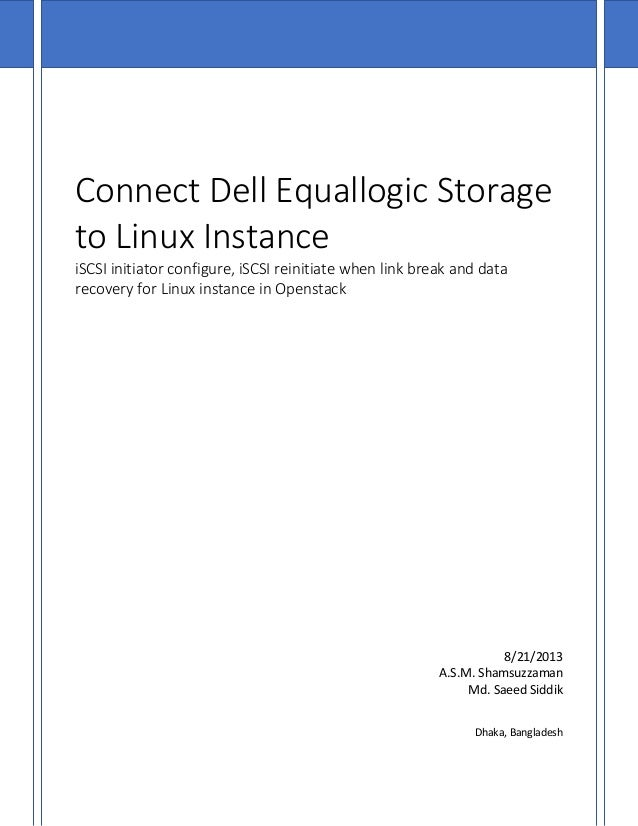 Connect dell equallogic storage to linux instance