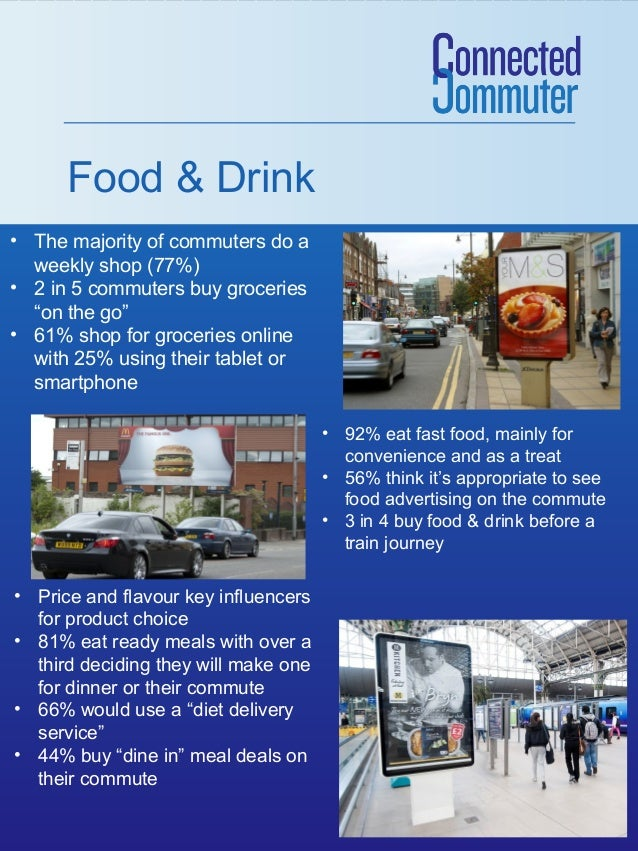 "Food & Drink • The majority of commuters do a weekly shop (77%) • 2 in 5 commuters buy groceries ""on the go"" • 61% shop fo..."