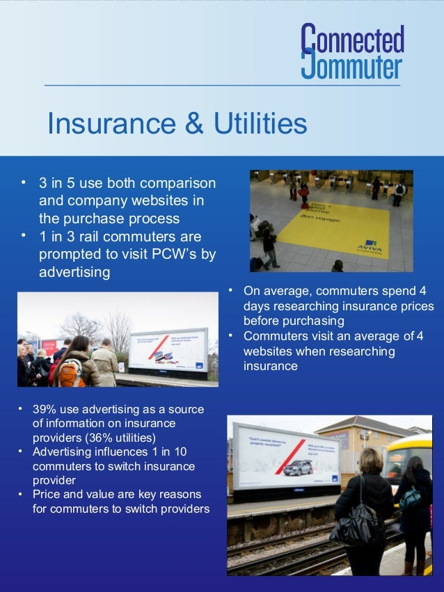 Insurance & Utilities • 3 in 5 use both comparison and company websites in the purchase process • 1 in 3 rail commuters ar...