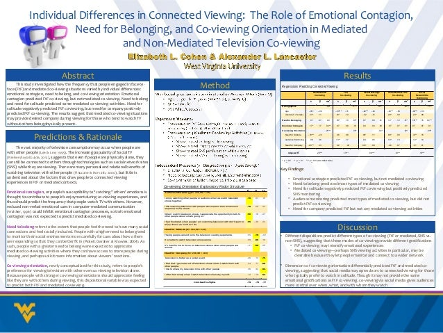 Individual Differences in Connected Viewing: The Role of Emotional Contagion,                      Need for Belonging, and...