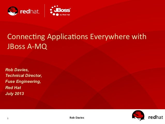 1   redhatRob Davies Connec(ng  Applica(ons  Everywhere  with   JBoss  A-‐MQ   Rob Davies, Technical Direct...