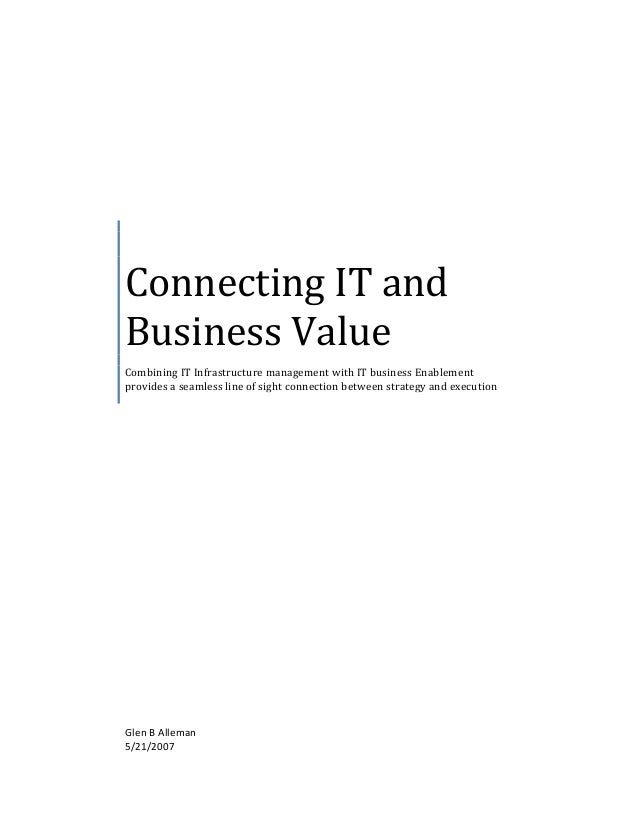 Connecting  IT  and   Business  Value   Combining  IT  Infrastructure  management  ...