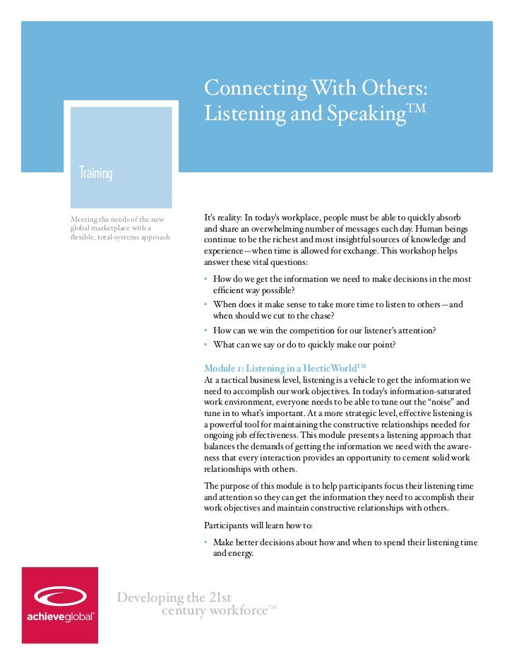 Connecting With Others: Listening and Speaking