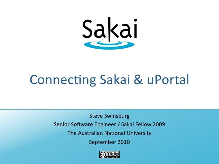 Connecting Sakai and uPortal (AuSakai 2010)