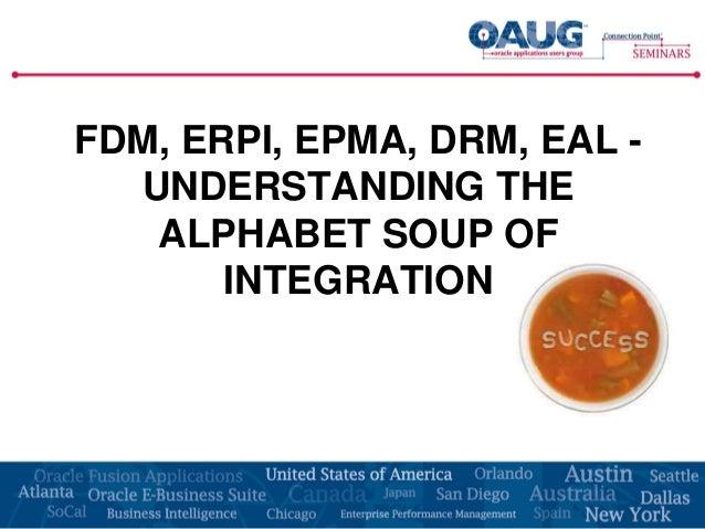 FDM, ERPI, EPMA, DRM, EAL -  UNDERSTANDING THE   ALPHABET SOUP OF       INTEGRATION