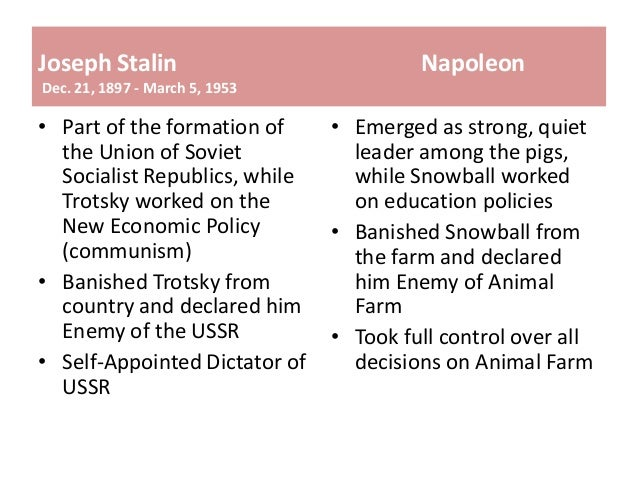 similarities and differences between animal farm and stalin Napoleon's rule resembles that of many dictators in history research a dictator, such as joseph stalin, benito mussolini, adolf hitler, fidel castro, or idi amin use a venn diagram to show the similarities and differences between napoleon or animal farm and a dictator in history write a .