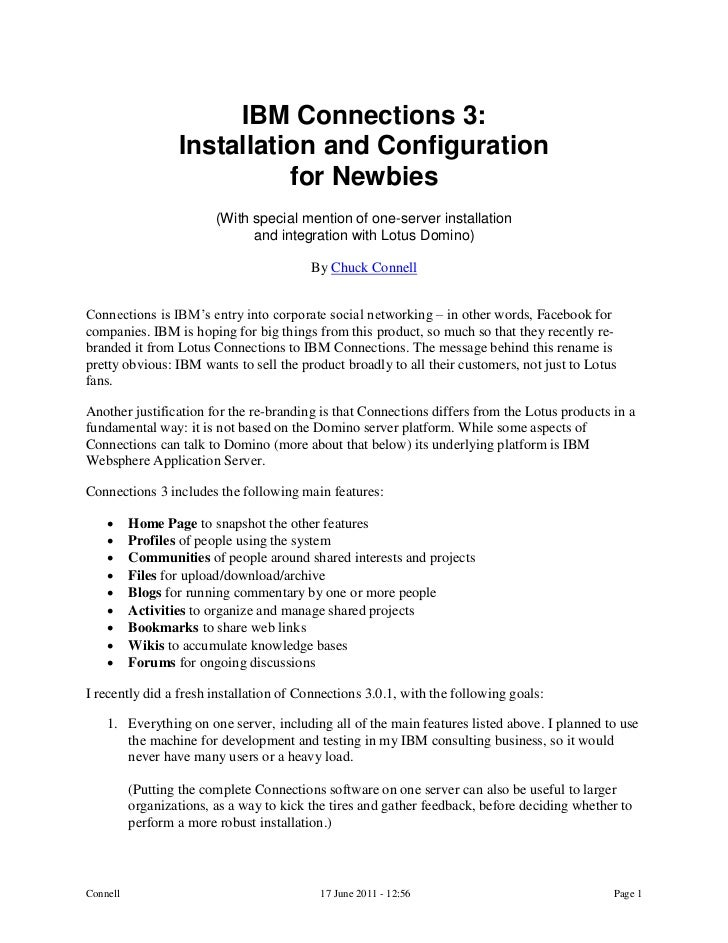 IBM Connections 3:                  Installation and Configuration                            for Newbies                 ...