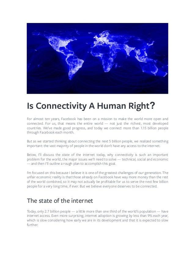 Connectitity - A conectividade é um direito humano? #Facebook