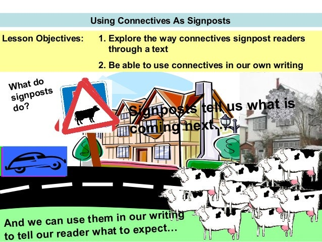 Using Connectives As Signposts Ice! Lesson Objectives: 1. Explore the way connectives signpost readers through a text 2. B...