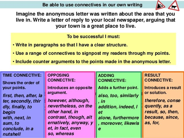 Connectives for essays