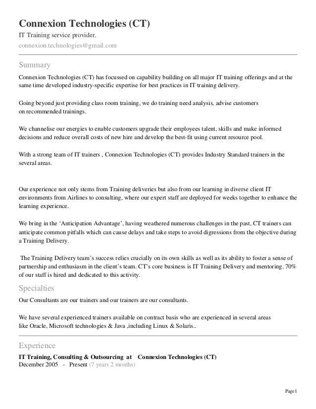 Connexion Technologies (CT)IT Training service provider.connexion.technologies@gmail.comSummaryConnexion Technologies (CT)...