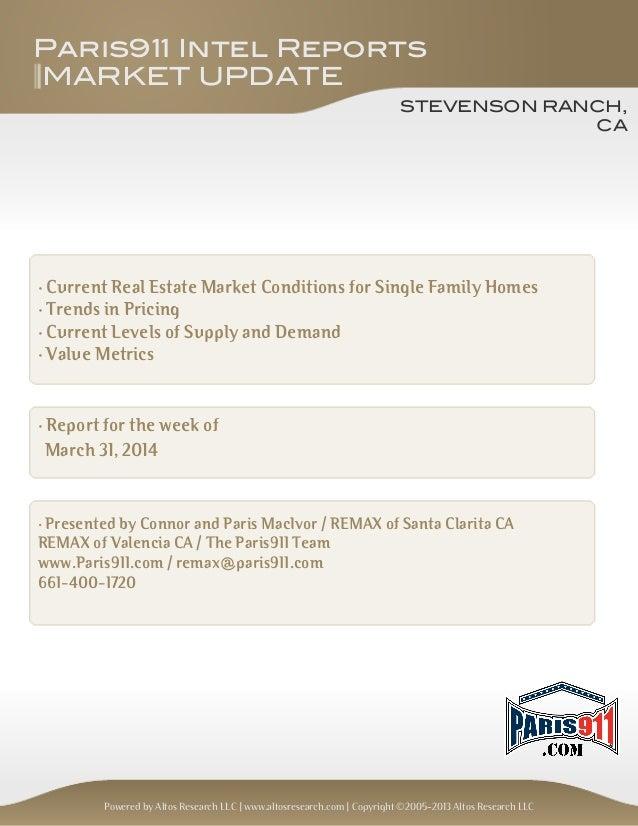 Stevenson Ranch housing market update for March 31, 2014