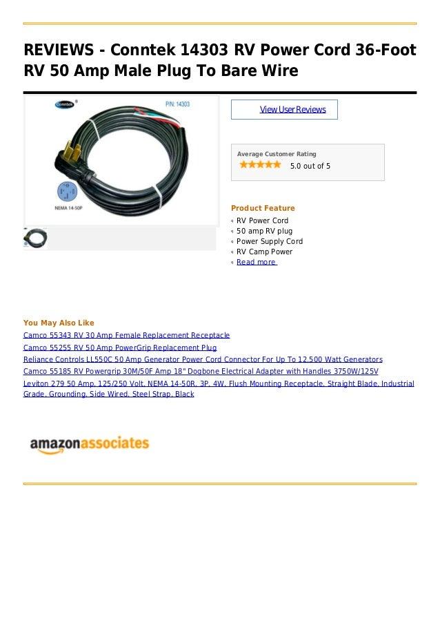 Conntek 14303 Rv Power Cord 36 Foot Rv 50 Amp Male Plug To