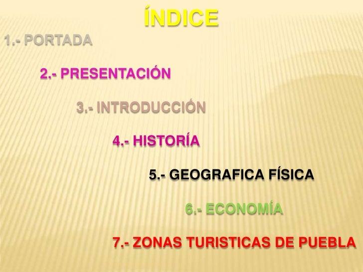 ÍNDICE<br />1.- PORTADA<br />2.- PRESENTACIÓN<br />3.- INTRODUCCIÓN<br />4.- HISTORÍA<br />5.- GEOGRAFICA FÍSICA<...