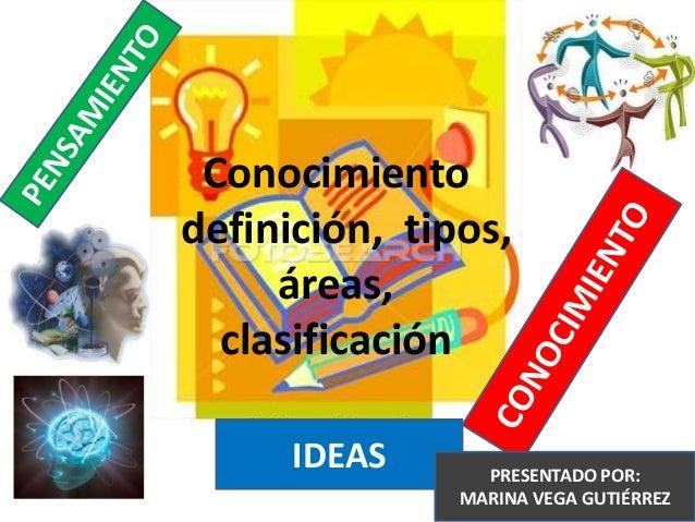 IDEASConocimientodefinición, tipos,áreas,clasificaciónPRESENTADO POR:MARINA VEGA GUTIÉRREZ