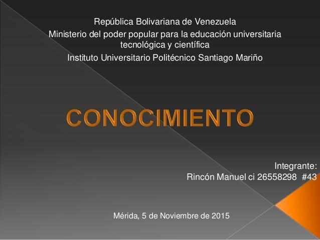 República Bolivariana de Venezuela Ministerio del poder popular para la educación universitaria tecnológica y científica I...