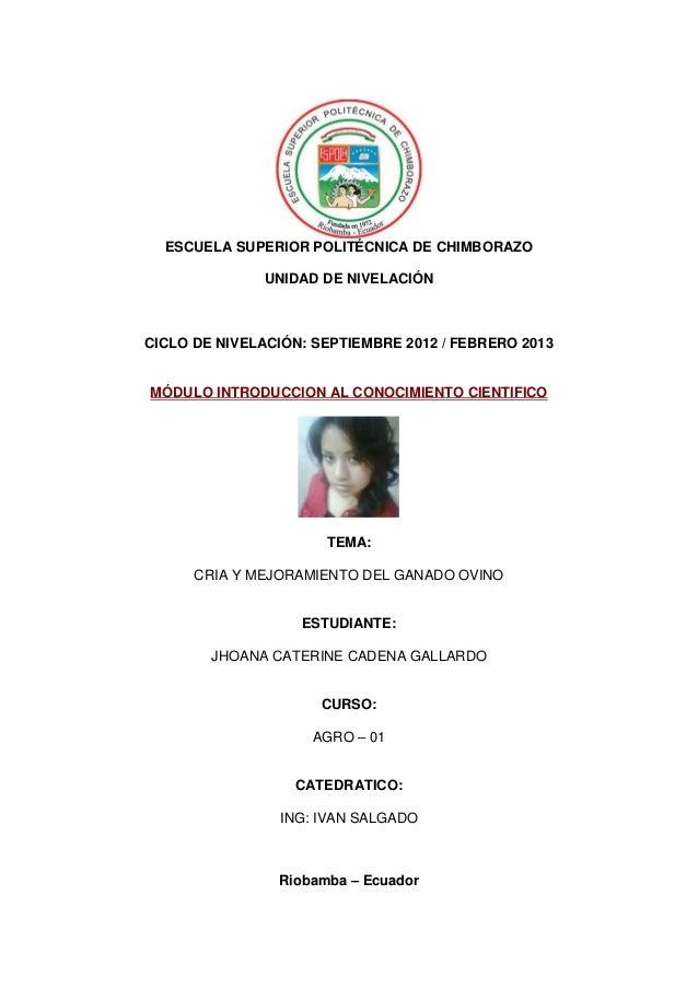 ESCUELA SUPERIOR POLITÉCNICA DE CHIMBORAZOUNIDAD DE NIVELACIÓNCICLO DE NIVELACIÓN: SEPTIEMBRE 2012 / FEBRERO 2013MÓDULO IN...