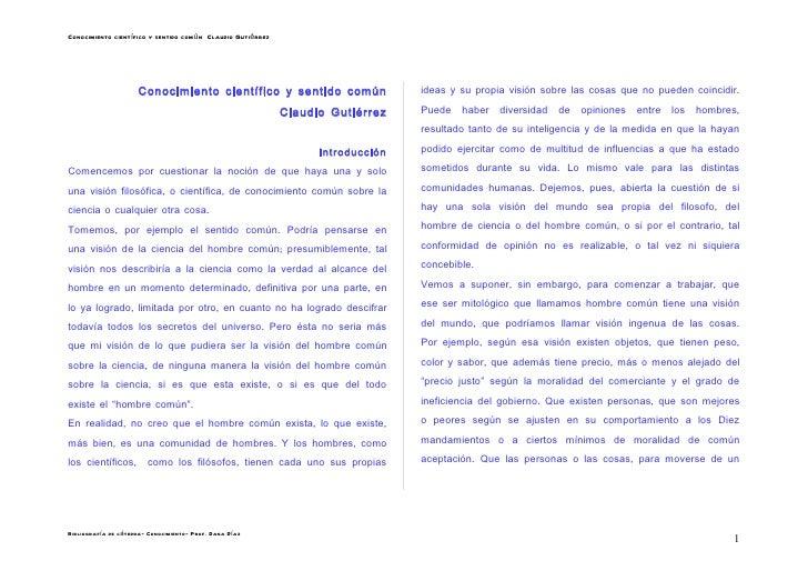 Conocimiento científico y sentido común Claudio Gutiérrez                     Conocimiento científico y sentido común     ...