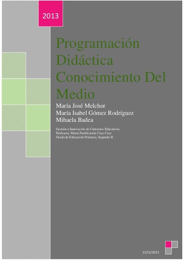 2013  Programación Didáctica Conocimiento Del Medio María José Melchor María Isabel Gómez Rodríguez Mihaela Badea Gestión ...