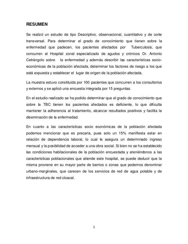 RESUMEN Se realizó un estudio de tipo Descriptivo, observacional, cuantitativo y de corte transversal. Para determinar el ...