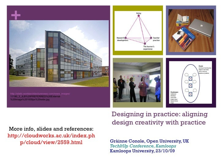 Designing in practice: aligning design creativity with practice Gráinne Conole, Open University, UK TechItUp Conference, K...