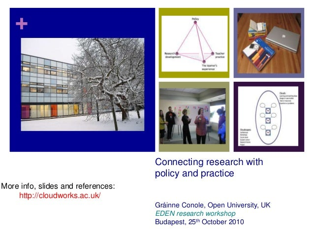 + Connecting research with policy and practice Gráinne Conole, Open University, UK EDEN research workshop Budapest, 25th O...
