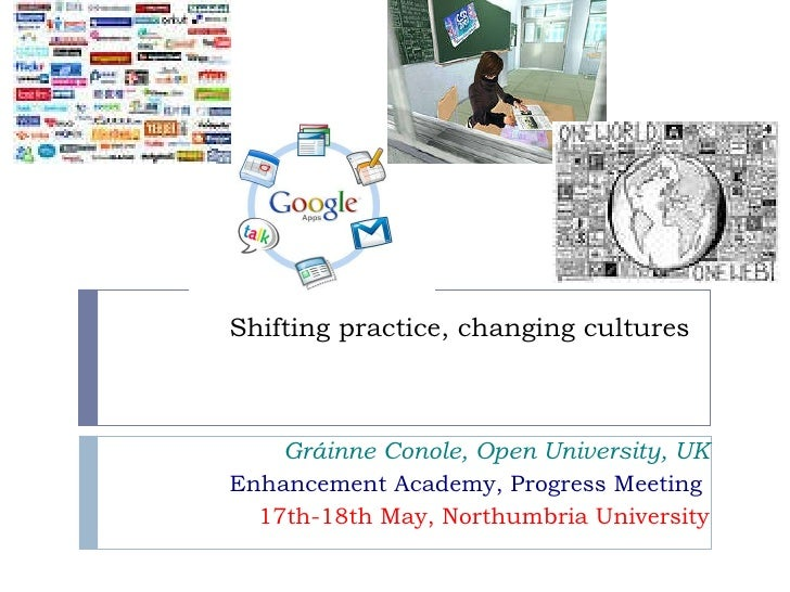 Shifting practice, changing cultures       Gráinne Conole, Open University, UK Enhancement Academy, Progress Meeting  17th...