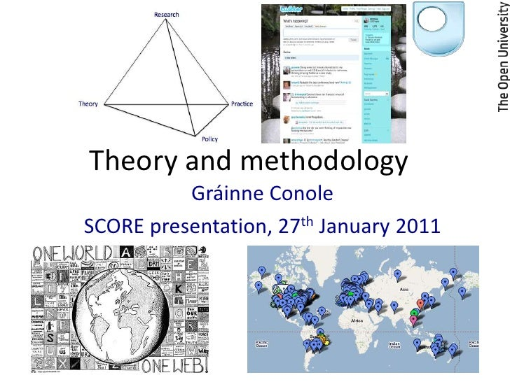 Theory and methodology	<br />Gráinne Conole<br />SCORE presentation, 27th January 2011<br />