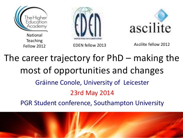 The career trajectory for PhD – making the most of opportunities and changes Gráinne Conole, University of Leicester 23rd ...