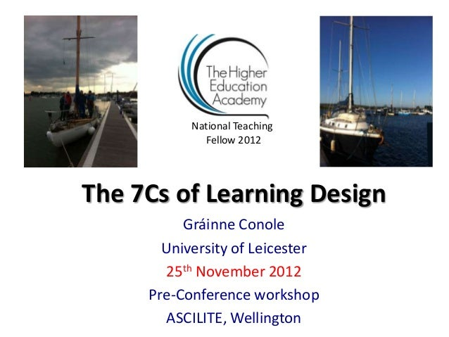 National Teaching             Fellow 2012The 7Cs of Learning Design          Gráinne Conole       University of Leicester ...