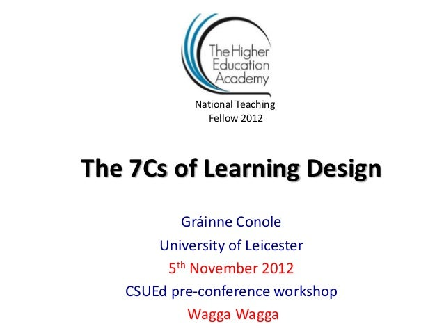 National Teaching              Fellow 2012The 7Cs of Learning Design          Gráinne Conole       University of Leicester...