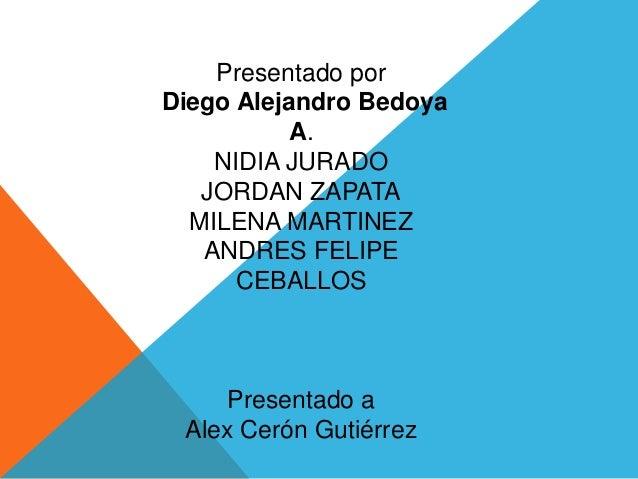 Presentado porDiego Alejandro BedoyaA.NIDIA JURADOJORDAN ZAPATAMILENA MARTINEZANDRES FELIPECEBALLOSPresentado aAlex Cerón ...