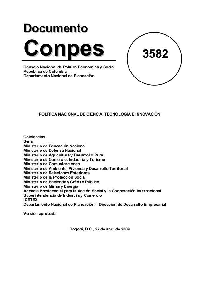 Conpes 3582 política nacional de ciencia, tecnología e innovación