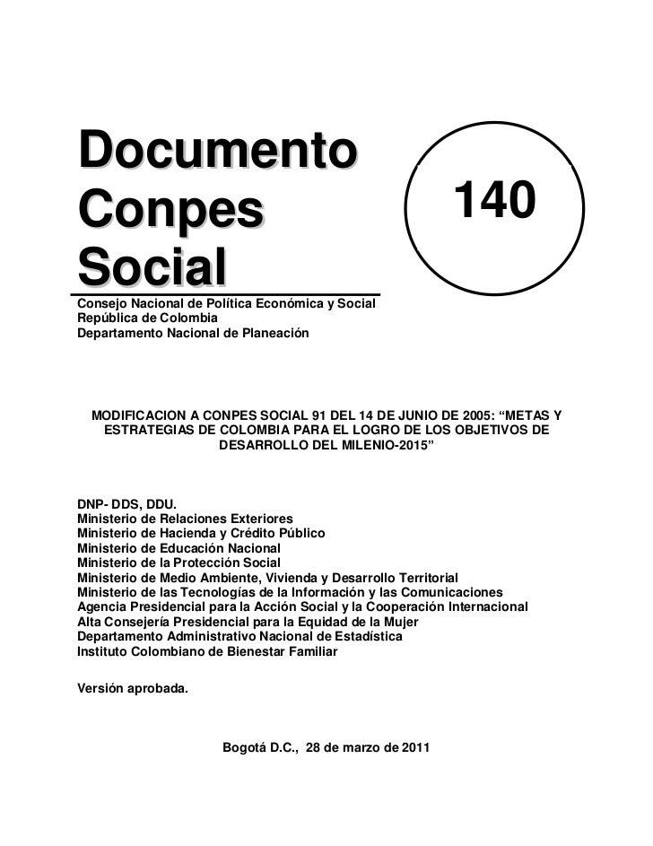 Conpes 140 modificacion-a_conpes_social_91_del_14_de_junio_de_2005