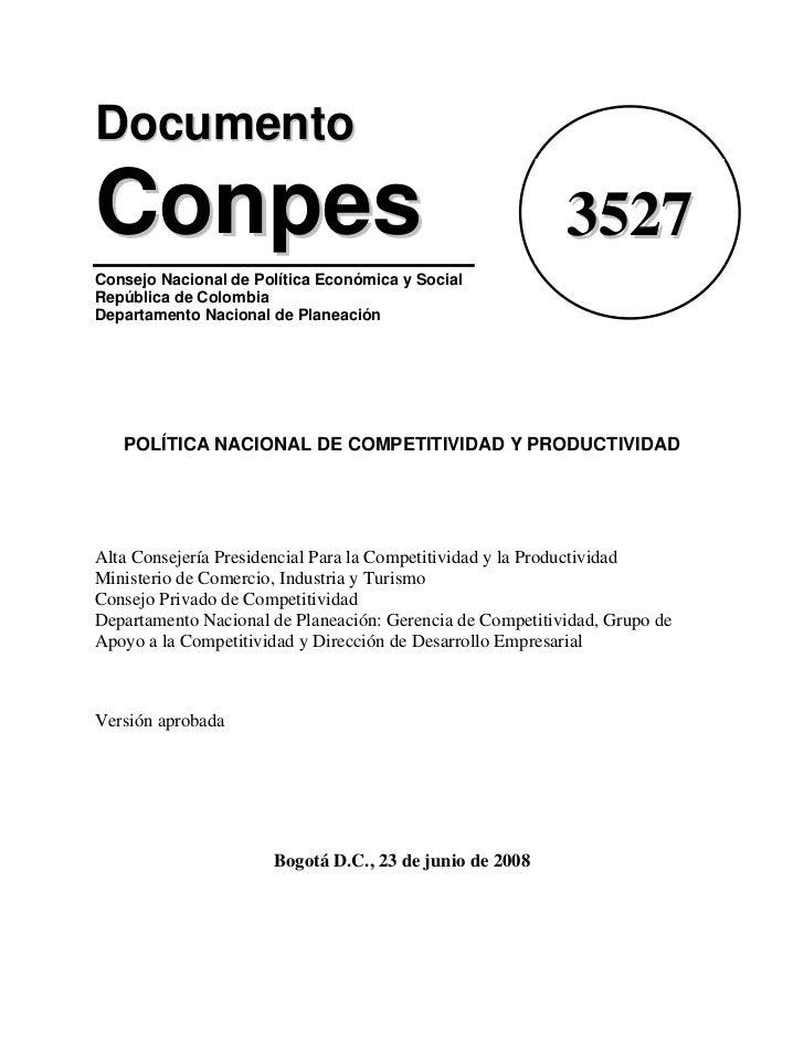 Documento Conpes 3527 - Política Nacional de Competitividad y Productividad (Colombia)