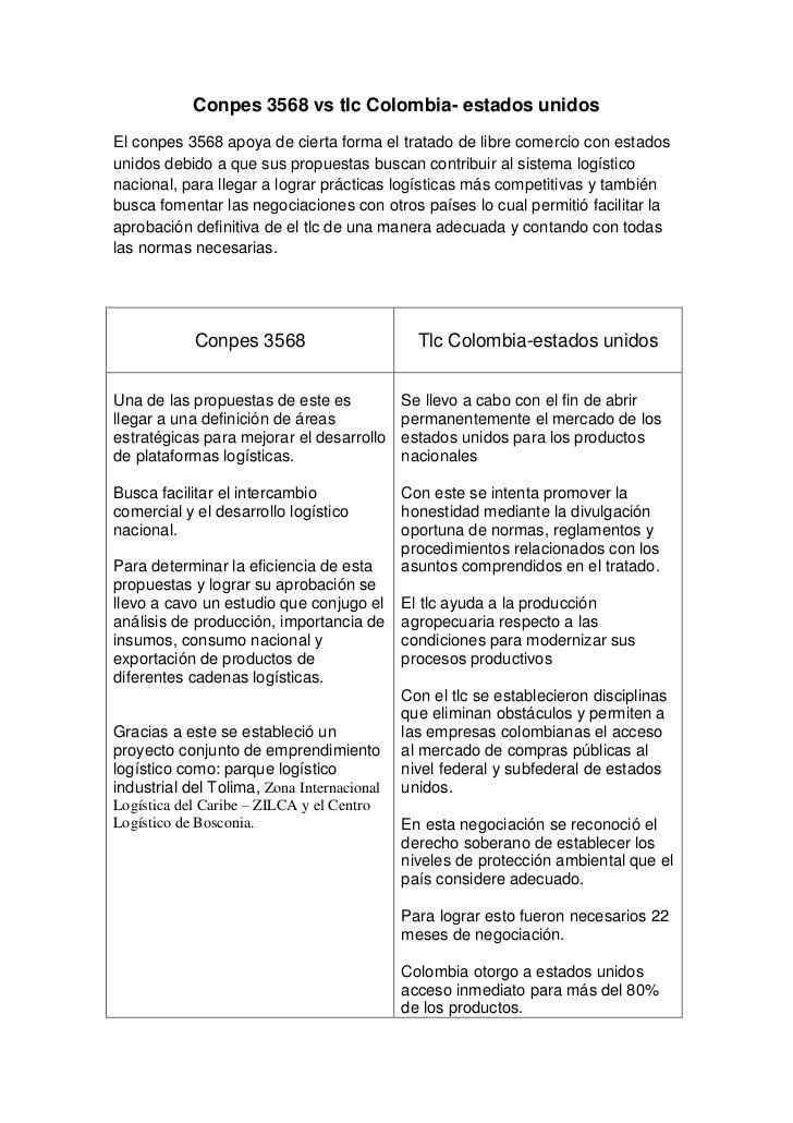 Conpes 3568 vs tlc Colombia- estados unidosEl conpes 3568 apoya de cierta forma el tratado de libre comercio con estadosun...