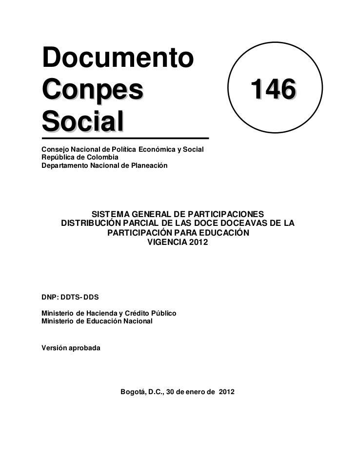 DocumentoConpes                                                     146SocialConsejo Nacional de Política Económica y Soci...