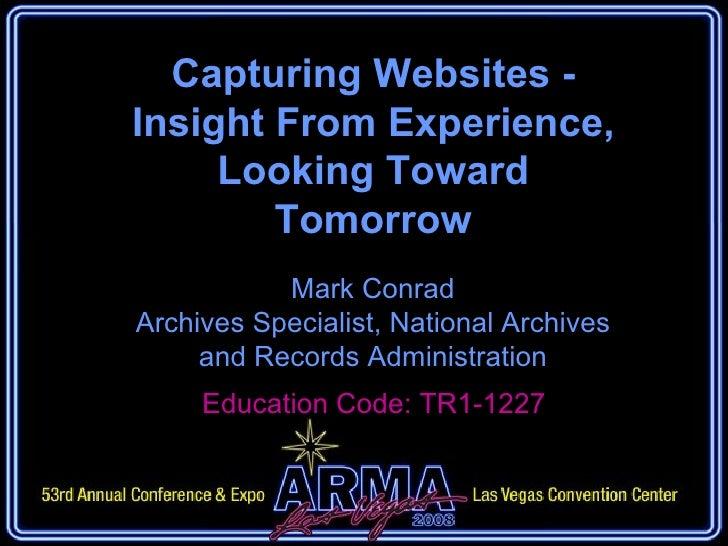 Conrad Capturing Websites
