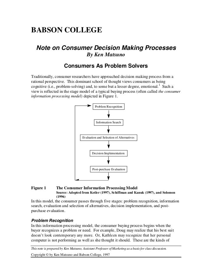 BABSON COLLEGE   Note on Consumer Decision Making Processes                                          By Ken Matsuno       ...