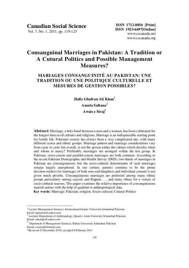 Consanguinal marriages in pakistan