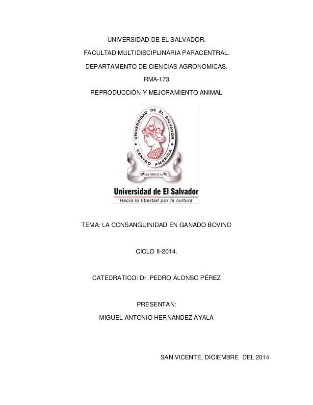 UNIVERSIDAD DE EL SALVADOR.  FACULTAD MULTIDISCIPLINARIA PARACENTRAL.  DEPARTAMENTO DE CIENCIAS AGRONOMICAS.  RMA-173  REP...