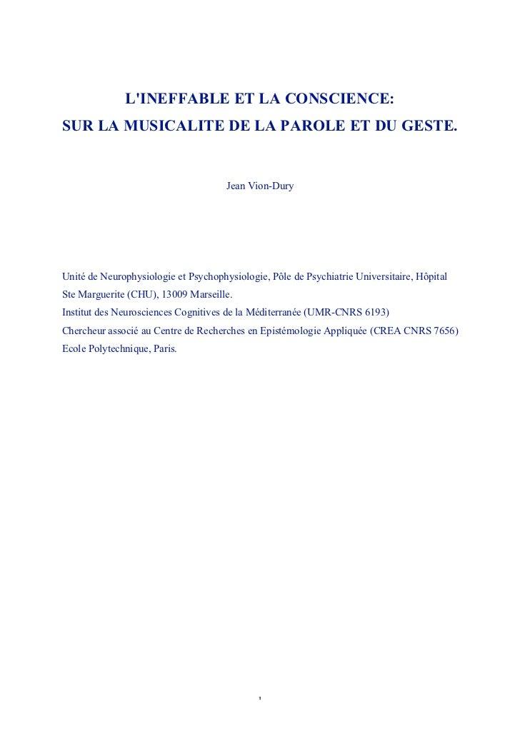 LINEFFABLE ET LA CONSCIENCE:SUR LA MUSICALITE DE LA PAROLE ET DU GESTE.                                      Jean Vion-Dur...