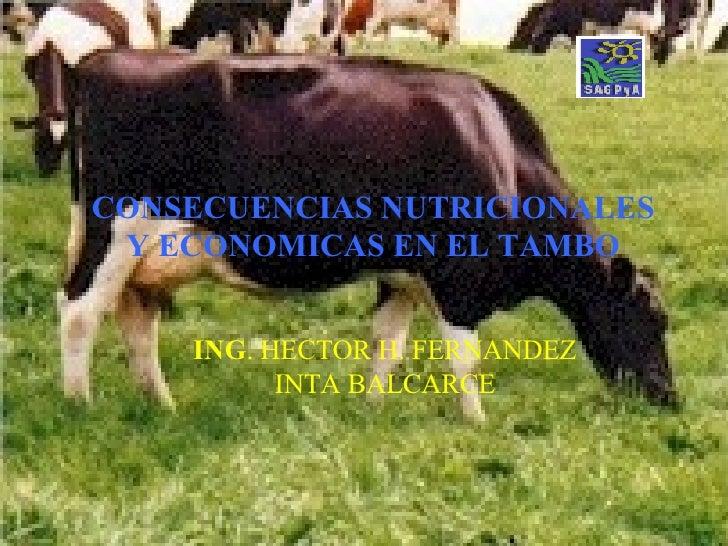 CONSECUENCIAS   NUTRICIONALES Y ECONOMICAS EN EL TAMBO ING . HECTOR H. FERNANDEZ INTA BALCARCE